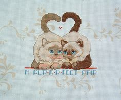 A Perfect (Purrrfect) Pair Two Cats Kittens Personalized Handmade Completed Counted Cross Stitch Wedding Anniversary Record by mycrossstitchcentral on Etsy
