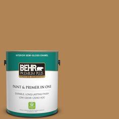 BEHR Premium Plus 1-gal. #S290-6 Golden Rice Semi-Gloss Enamel Interior Paint