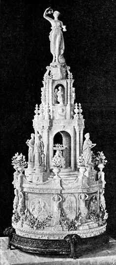Wedding cake of Princess Louise of Great Britain (6th child of Queen Victoria) and John, Marquess of Lorne, later Duke of Argyll  March 21, 1871