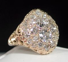 PHENOMENAL Antique Victorian Diamond Ring - It's a new year so why not kick it off with a new … well okay … as new as antique gets … new ring? This antique Victorian diamond ring will. Antique Rings, Antique Jewelry, Antique Sapphire Rings, Emerald Rings, Ruby Rings, Diamond Rings, Womens Wedding Bands, Wedding Ring Bands, Diamond Cluster Engagement Ring