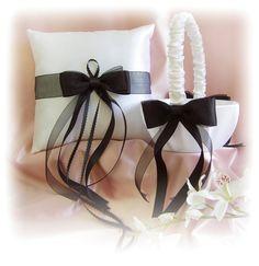 Black White Wedding Basket Pillow - Ceremony Accessories Decor - Flower Girl Basket - Ring Bearer Pillow Set