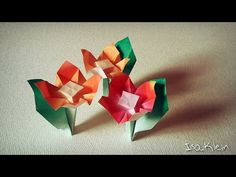 Origami: flor com caule - YouTube