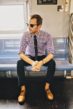 Shop this look for $297:  http://lookastic.com/men/looks/purple-longsleeve-shirt-and-black-and-white-tie-and-black-chinos-and-walnut-oxford-shoes/1530  — Purple Gingham Longsleeve Shirt  — Black and White Polka Dot Tie  — Black Chinos  — Walnut Leather Oxford Shoes