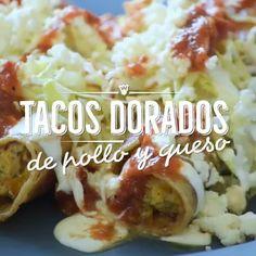 Mexican food recipes - Tacos dorados de pollo y queso crema Healthy Chicken Recipes, Gourmet Recipes, Mexican Food Recipes, Dinner Recipes, Cooking Recipes, Oven Cooking, Vegetable Recipes, Cooking Time, I Love Food