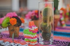 """""""A lot of the wedding was DIY but my favorite project were the mini piñatas. They were incredibly tedious but I had a blast making them. I got the idea from Oh Happy Day. We knew we wanted a piñata at the wedding but I didn't want a big one that everyone would hit. When I found the mini piñatas on the blog, I knew that this was the perfect comprise and it would add that special touch."""""""