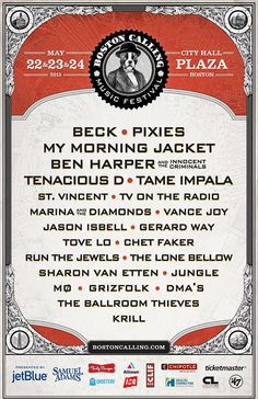 Boston Calling Music Festival 2015 lineup |  May 22-24 | City Hall Plaza | Boston, MA | Beck,  Pixies, My Morning Jacket, and more!