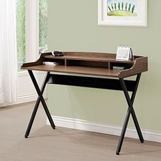 Amazon.com: Coaster Home Furnishings Writing Desk, Walnut and Black: Kitchen & Dining