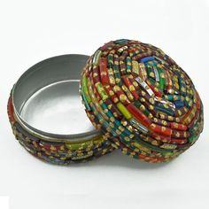 Broken Bangles Recycled Round Glass Box  #handmade #beading