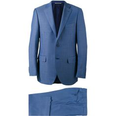 Canali Two Piece Suit ($1,592) ❤ liked on Polyvore featuring men's fashion, men's clothing, men's suits, mens blue suit, men's 2 piece suits, mens wool suits, mens two piece suits and canali men's suits