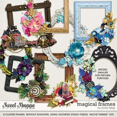 Quality DigiScrap Freebies: Magical Frames freebie from Studio Flergs Digital Scrapbooking Freebies, Print And Cut, Decoupage, Floral Wreath, Card Making, Clip Art, Anchors, Studio, Ephemera