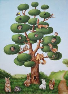 Meet me by the squirrel tree A high quality print from an original acrylics illustration by Irene Owens Size x in 297 x 210 mm Do you know the funny looking tree in Nursery Art, Nursery Decor, Creation Photo, Animation, Naive Art, Tree Print, Cute Illustration, Watercolor Print, Beautiful Artwork