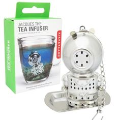 NEW Kikkerland Jacques The Stainless Steel Tea Infuser Chain & Drip Tray - CU69