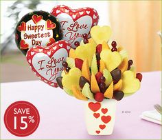 Save 15% on your sweetheart! Celebrate your love with this delicious arrangement featuring our signature pineapple hearts, fresh strawberries with half the strawberries dipped in gourmet chocolate, grapes, cantaloupe, and honeydew. #sweetestday #gift #ideas