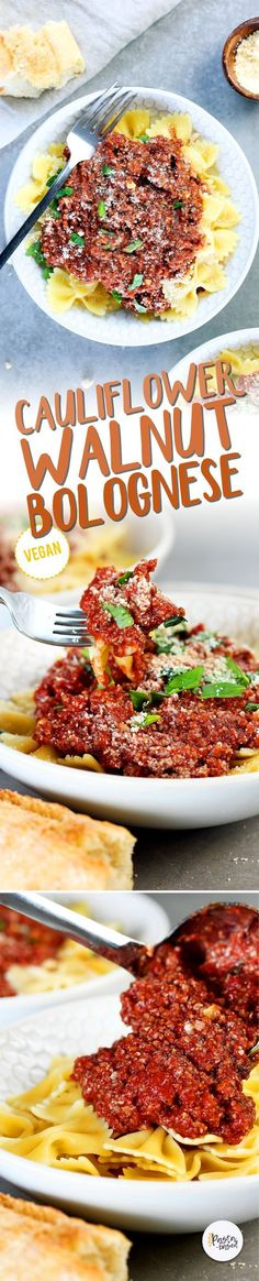 """This vegan/vegetarian bolognese sauce is made with caulifower walnuts and marinara sauce. It's so easy to make requires less than 10 ingredients and 30 minutes. Chunky flavorful """"meaty"""" healthy and perfect for pasta night. Yummy Pasta Recipes, Vegan Dinner Recipes, Delicious Vegan Recipes, Vegan Snacks, Dairy Free Recipes, Vegetarian Recipes, Vegan Vegetarian, Vegetarian Dinners, Healthy Recipes"""