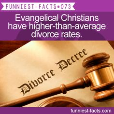 Evangelical Christians have higher-than-average divorce rates. MORE OF FUNNIEST-FACTS are coming here funny, interesting and weird facts only http://funniest-facts.com/post/96215579838/funny-interesting-and-weird-facts-only