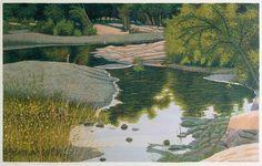 Oak Creek by Gordon Louis Mortensen, reduction woodcut