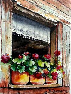 """Flowers in front of the windows"" Turkish painter Berrin Duma, saatchiart.com #art #watercolors"