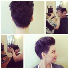 Front Desker Meghan models a women's disconnected pixie haircut/style by master Aveda stylist (& salon owner) Catherine Stewart at Stewart & Company Salon