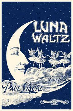 vintage sheet music...Luna Waltz...with fairies dancing on clouds...love..