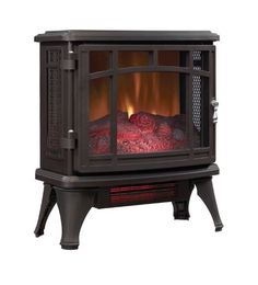 Black Space Heater Quartz Infrared Electric Stove Duraflame Hallway Home Office #Duraflame