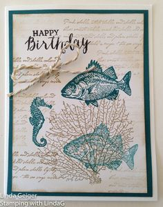 """Image of a birthday card, stamped with Stampin' Up! Stamp Set """"By the Tide."""" Island indigo and crumb cake ink on white card stock."""
