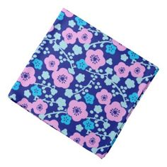 Rich blue and pink floral pattern Japanese Plum Bandana - pattern sample design template diy cyo customize