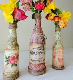 vibrant flowers, beautiful bottle vases
