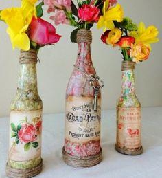 vibrant flowers, beautiful bottle vases