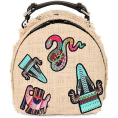 Msgm Women Embroidered Patches Backpack (£425) ❤ liked on Polyvore featuring bags, backpacks, backpack, accessories, natural, msgm, backpack bags, zip bag, zipper bag and knapsack bag