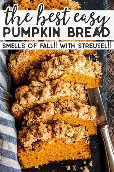 This is an easy recipe for a moist and fluffy pumpkin bread that will have everyone begging for more! It's made with the BEST cinnamon pecan streusel … - New Site Moist Pumpkin Bread, Healthy Pumpkin, Homemade Brownies, Homemade Desserts, Pumpkin Recipes, Fall Recipes, Baking Recipes, Dessert Recipes, Fall Desserts