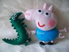 George Pig e Sr. Dinossauro em feltro
