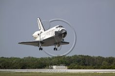 View Stock Photo of Space Shuttle Discovery approaches landing on the runway at the Kennedy Space Center. Space Shuttle Missions, Kennedy Space Center, Landing, Discovery, Fighter Jets, Runway, Image, Cat Walk, Walkway