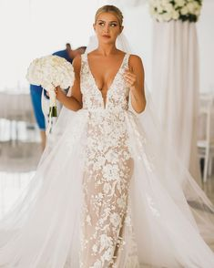 30 Lace Bridal Gowns Of Your Dream ? lace bridal gowns sheath deep v neckline with overskirt fjollanilaofficial ? : 30 Lace Bridal Gowns Of Your Dream ? lace bridal gowns sheath deep v neckline with overskirt fjollanilaofficial ? Elegant Wedding Dress, Bridal Wedding Dresses, Bridal Lace, Dream Wedding Dresses, Lace Wedding, Mermaid Dresses, Marie, Wedding Ideas, Wedding Pics