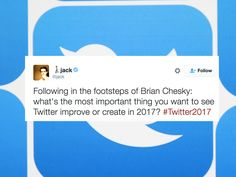 Tell Twitter's CEO what you want from him in 2017 by https://www.cnet.com/news/tell-twitters-ceo-what-you-want-from-the-site-in-2017/