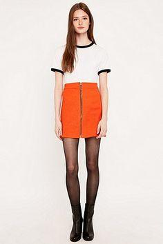 Urban Renewal Vintage Remnants Textured A-Line Orange Skirt