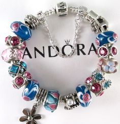 Authentic Pandora Bracelet, Sterling Silver Pandora Bracelet with Murano, Mixed Charms, Or Euro Style Bracelet with Murano, Mixed Charms by RobinsNestJewels on Etsy