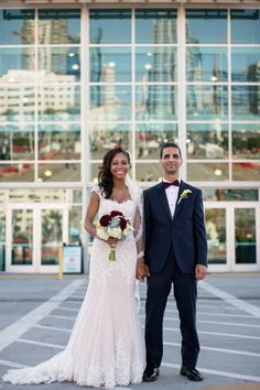Bride & Groom in front of Broadway Pier | Anika London Photography