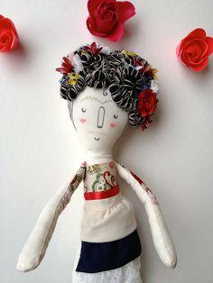 Frida Kahlo- Art Doll OOAK- Plush.  via Etsy.