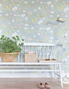 Majvillan's new Bloom Wallpaper in Grey. A delightful floral Wallpaper to brighten up a girls room. Non-Woven Wallpaper (paste the wall) Washable & Eco-Friendly Roll Size: x Repeat: Straight Match Swedish Wallpaper, Bloom, Style Retro, Motif Floral, Kitchen Wall Art, Little Girl Rooms, Vintage Walls, Boudoir, Wall Decor