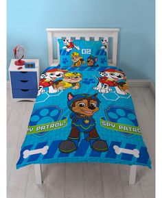 This Paw Patrol Spy Single Duvet Cover and Pillowcase Set features Chase, Marshall and Rubble and is reversible too.