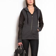Leather Sleeve Hoody $178