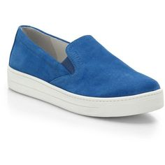 Prada Suede Skate Shoes (10,635 THB) ❤ liked on Polyvore featuring shoes, sneakers, apparel & accessories, blue, blue flats, prada shoes, suede shoes, platform sneakers and suede flats