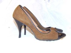 1950s Heels  TOWN & COUNTRY  Brown Suede Black by NorthStarAtelier, $65.00