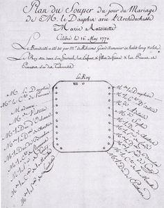 Seating plan for the wedding dinner celebrating the marriage of Louis-Auguste and Marie-Antoinette.