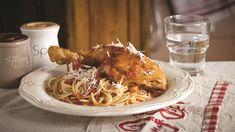 Ένα πίατο με ιδανικά ισορροπημένη, ήπια γεύση ώστε να αρέσει εξίσου σε μικρούς και μεγάλους! Σερβίρει 2-4 άτομα! Tandoori Chicken, Spaghetti, Meat, Ethnic Recipes, Flora, Greek, Plants, Greece, Noodle