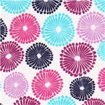 white flower flannel fabric turquoise purple Robert Kaufman - Flannel Fabric - Fabric