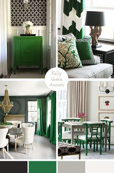 rooms with kelly green accents