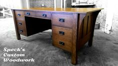 This Stickley reproduction is quarter sawn white oak with authentic reproduction hardware.