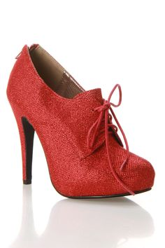 misbehave Chica Glitter Bootie In Red... oh, the characters that can be played with this shoe!