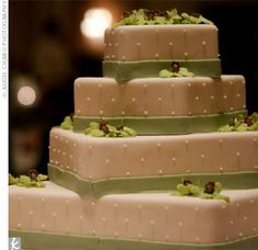 Note from mom: I love the simplicity of this cake and I also love the soft colors...could see dresses in this green with burgundy florals and the men in burgundy ties...